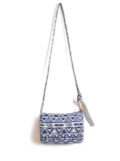 Color Block Tribal Imprimé Sac Bandoulière - Bleu