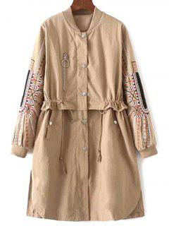 Embroidered Sleeve Drawstring Trench Coat - Khaki S