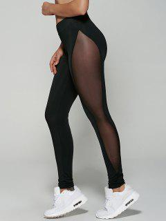 See-Through Mesh Leggings - Black M