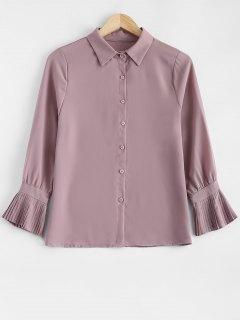 Shirt à Manches Plissées Neck Shirt - Rose Abricot S
