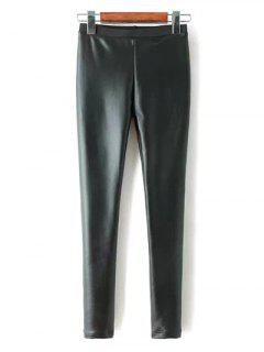Faux Leather Fleece Pants - Black S
