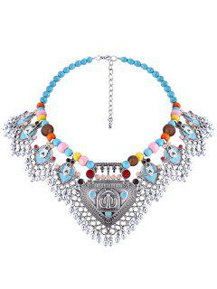 Beaded Faux Turquoise Necklace - Silver