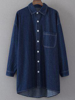 Denim Long Sleeve Shirt Dress - Blue M