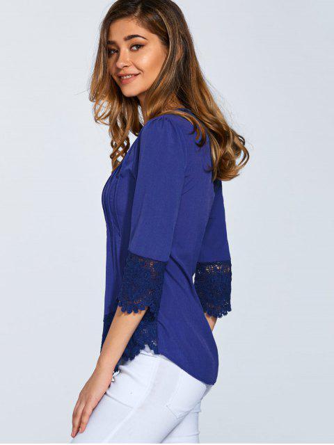 Blouse festonnée avec patchwork de dentelle à manches 3/4 - Bleu M Mobile