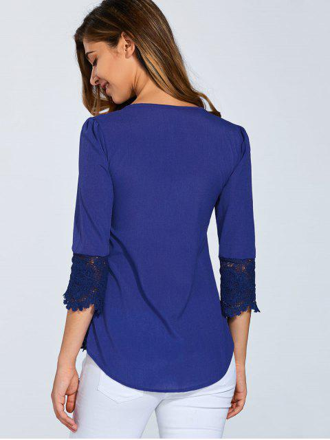 buy Scalloped Lace Splicing Blouse - BLUE M Mobile