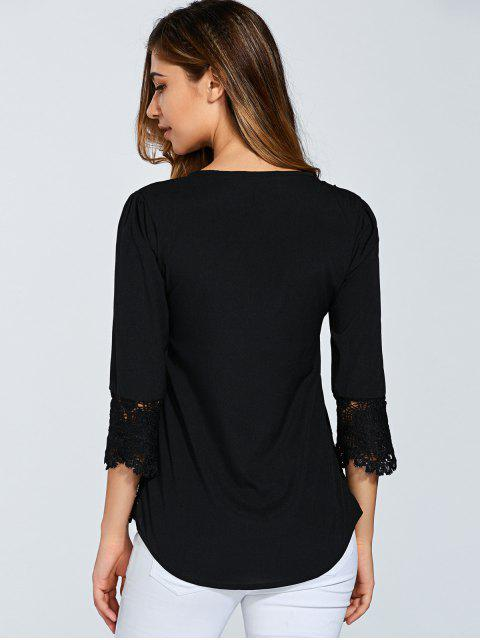 ladies Scalloped Lace Splicing Blouse - BLACK M Mobile
