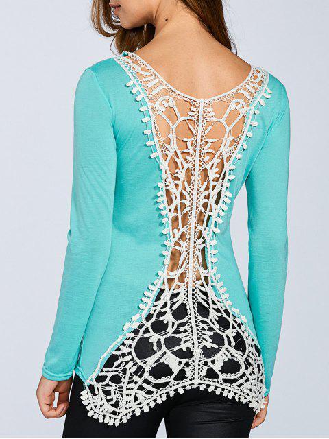 shop Hook Flower Spliced Long Sleeve T-Shirt - LIGHT GREEN L Mobile