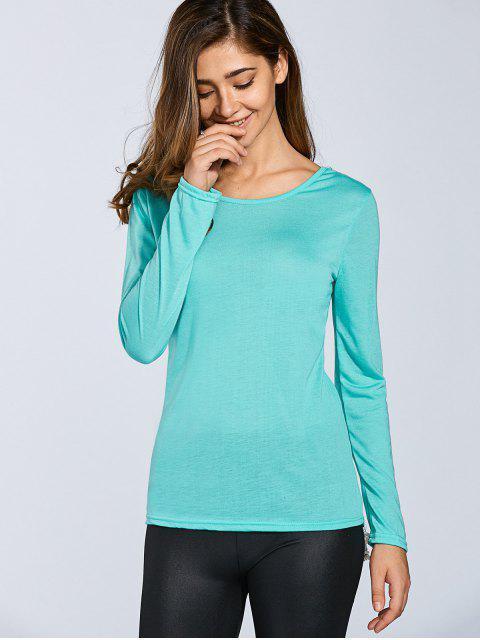 shops Hook Flower Spliced Long Sleeve T-Shirt - LIGHT GREEN M Mobile