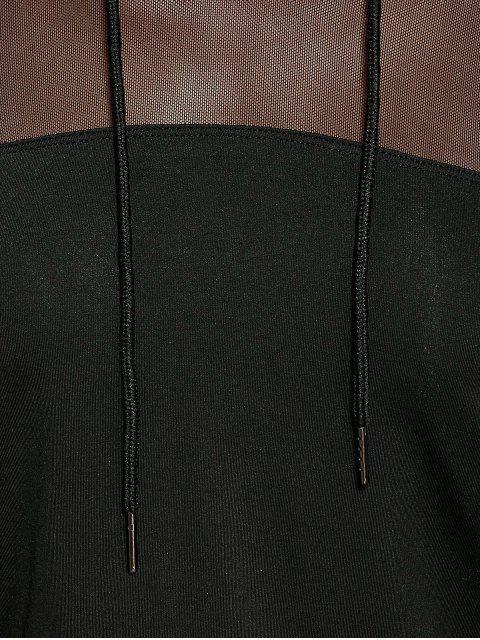 sale Cropped Hoodie with Mesh Leggings - BLACK M Mobile