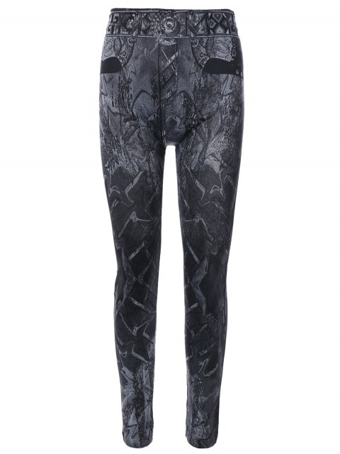 outfit Abstract Print Jeggings - BLACK ONE SIZE Mobile