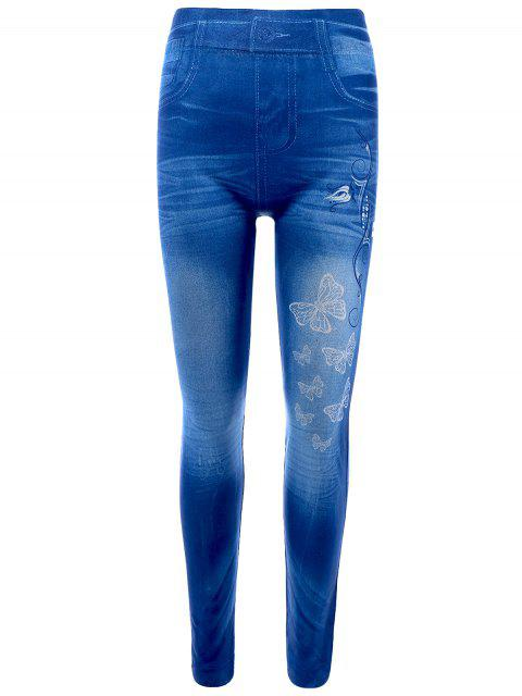 fashion Butterfly Print Skinny Jeggings Faux Jean Leggings - BLUE ONE SIZE Mobile