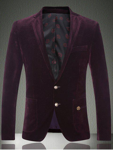 sale Embroidered Patch Pocket Single Breasted Corduroy Blazer -   Mobile