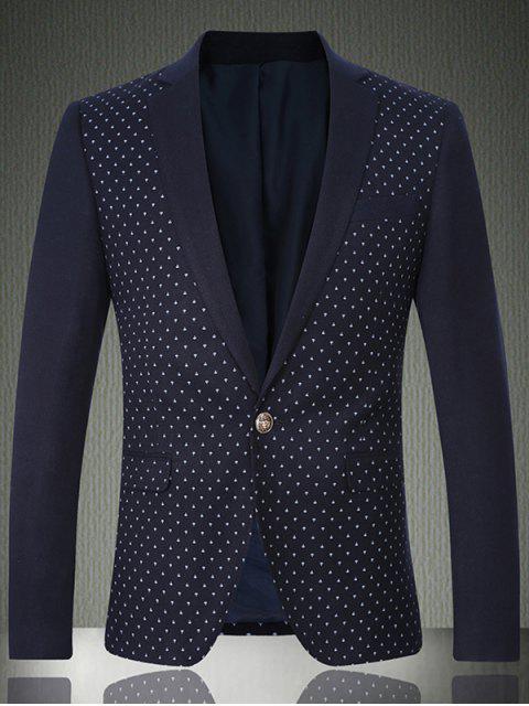 fashion Breast Pocket Notch Lapel Printed One-Button Blazer - CADETBLUE XL Mobile