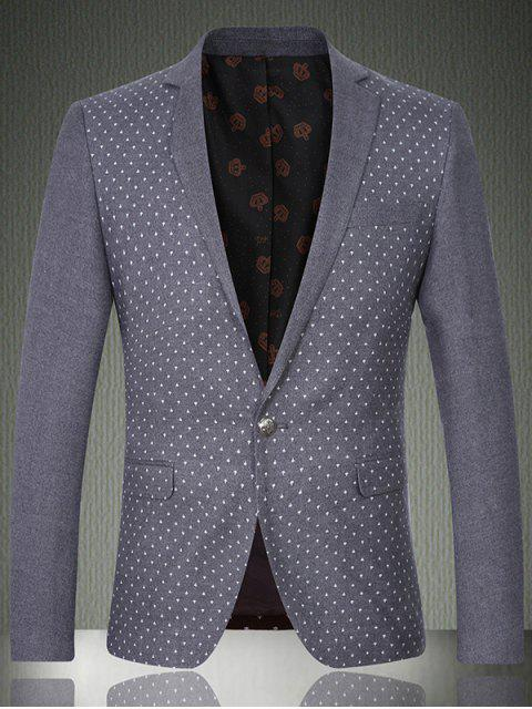 lady Breast Pocket Notch Lapel Printed One-Button Blazer -   Mobile