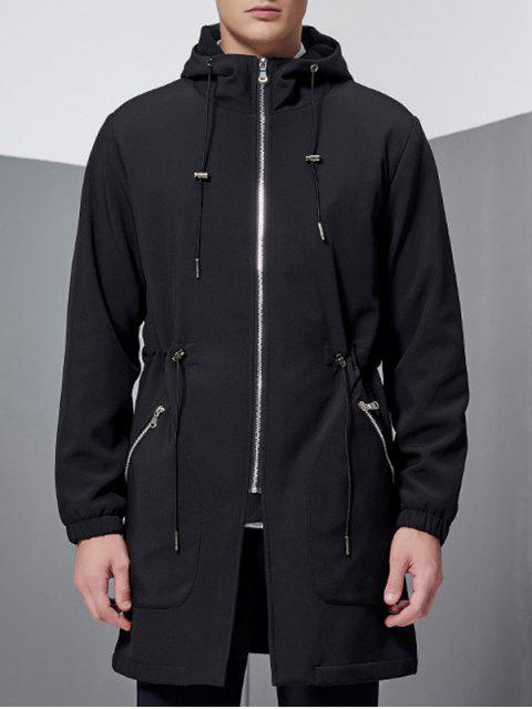 fancy Hooded Lengthen Drawstring Zip-Up Coat - BLACK L Mobile