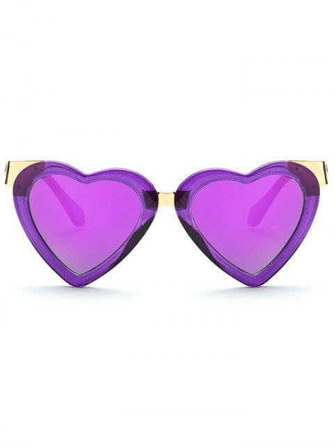 lady Heart Mirrored Sunglasses -   Mobile