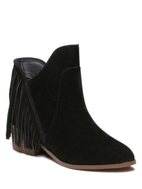 shop Suede Chunky Heel Fringe Boots - BLACK 38 Mobile