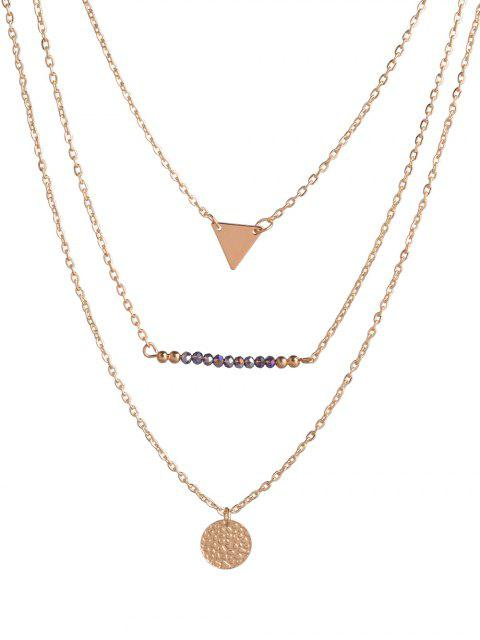 outfit Coin Triangle Beads Layered Necklace - GOLDEN  Mobile