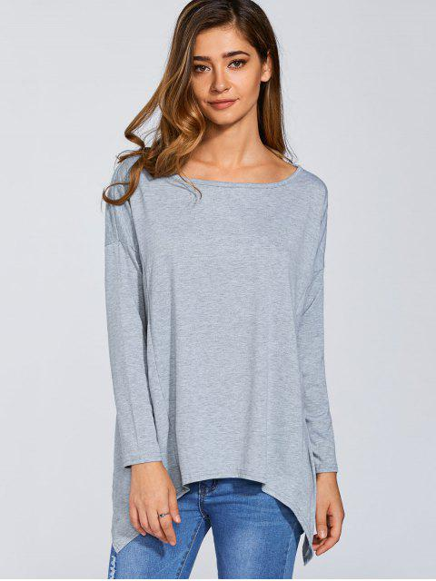 shop Long Sleeves Hankerchief Top - GRAY S Mobile