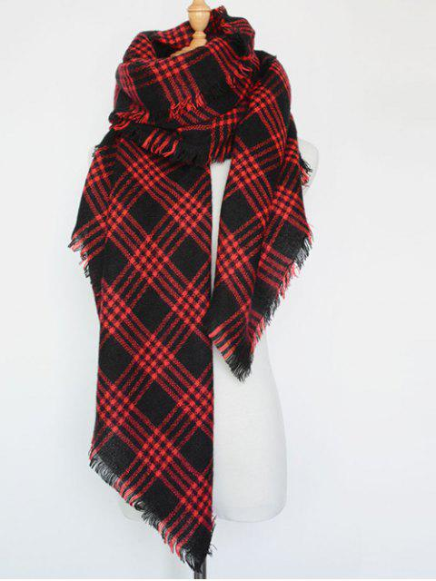 trendy Plaid Series Fringed Scarf -   Mobile