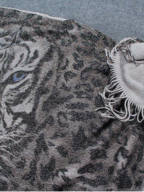 sale Tiger Head Tassel Poncho - GRAY  Mobile