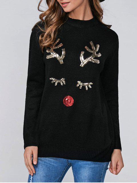 latest Christmas Sequined Deer Pullover Sweater - BLACK ONE SIZE Mobile