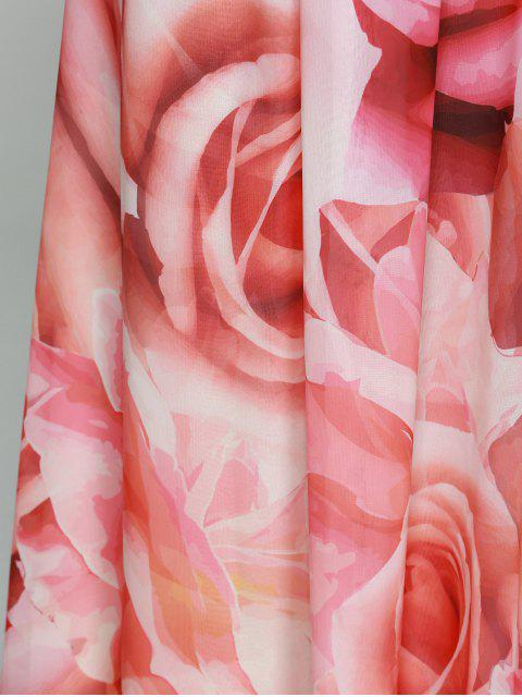 fancy Flowers Print Round Neck Sleeveless Maxi Dress - RED 2XL Mobile