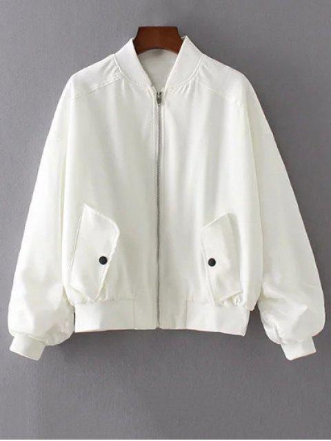 ladies Honeybee Embroidered Bomber Jacket - WHITE L Mobile