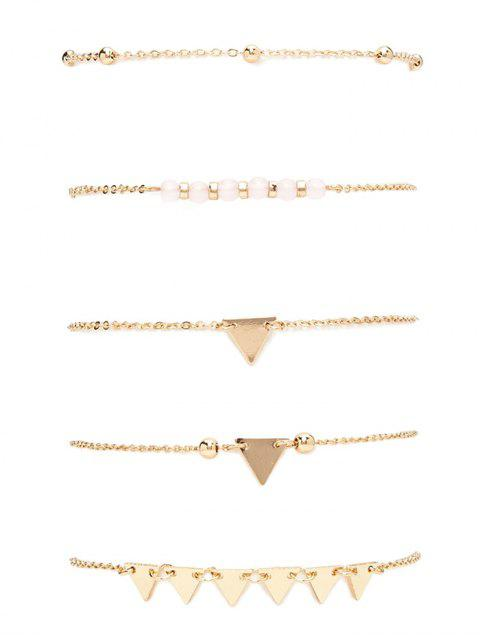 ladies Alloy Beads Triangle Bracelet Set - GOLDEN  Mobile