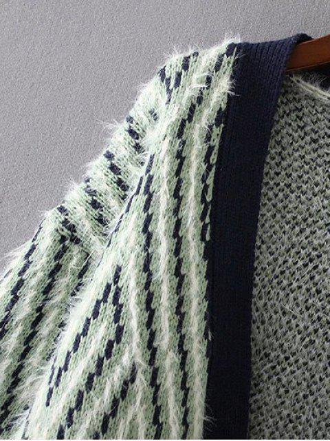 Chevron Stripe Fluffy Cardigan - Jaune TAILLE MOYENNE Mobile