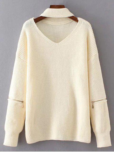 online V Neck Oversized Choker Sweater - WHITE ONE SIZE Mobile