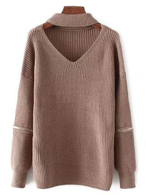 outfit V Neck Oversized Choker Sweater - COFFEE ONE SIZE Mobile