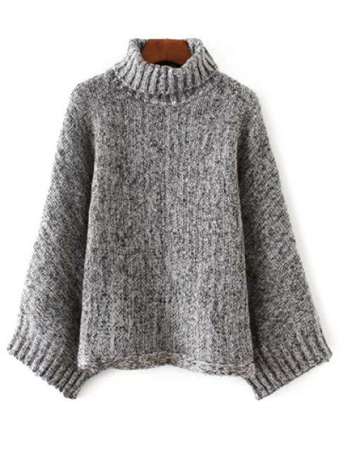 outfits Marled Oversized Dolman Sweater - BLACK AND GREY ONE SIZE Mobile