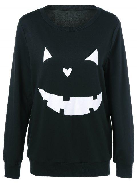 latest Halloween Grimace Print Sweatshirt - BLACK XL Mobile
