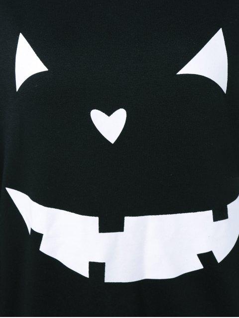 Sweatshirt imprimé de grimace Halloween - Noir XL Mobile