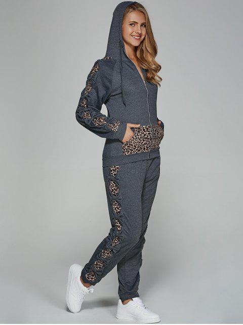 shop Leopard Trim Hoodie and Sweatpants - GRAY L Mobile