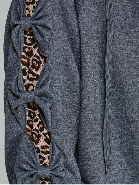 outfits Leopard Trim Hoodie and Sweatpants - GRAY XL Mobile