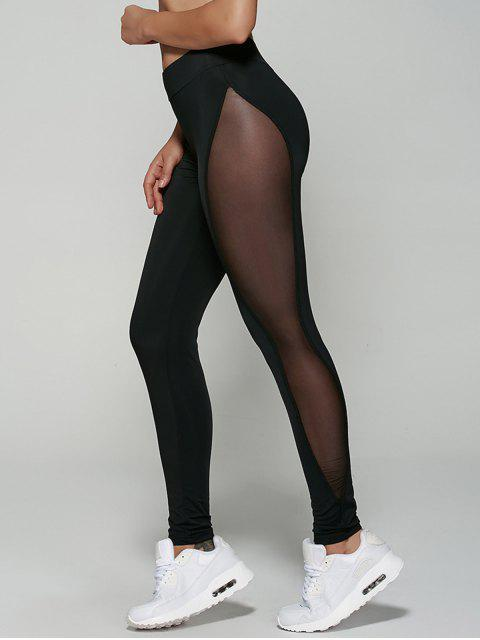 lady See-Through Mesh Leggings - BLACK M Mobile