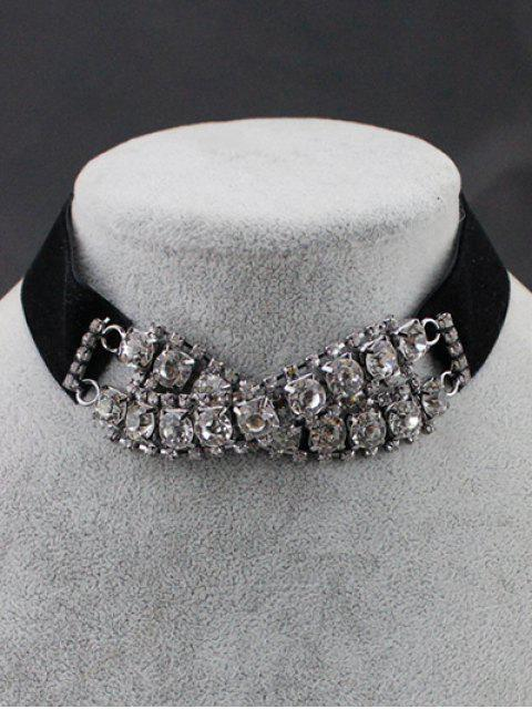 shop Rhinestone Choker Necklace - BLACK  Mobile