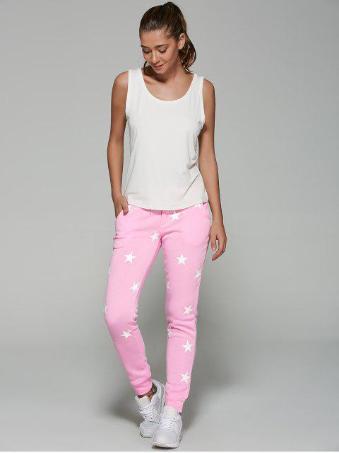 fashion Star Print Sporty Pants - PINK L Mobile