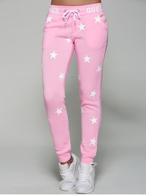 chic Star Print Sporty Pants - PINK M Mobile
