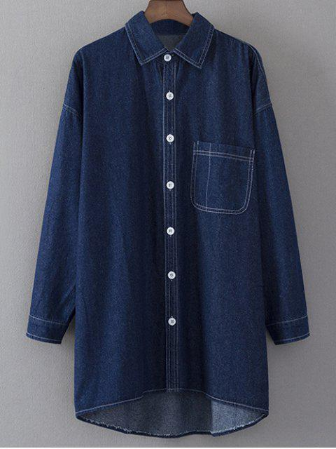 fancy Denim Long Sleeve Shirt Dress - BLUE M Mobile