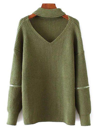 V Neck Oversized Choker Sweater - Green
