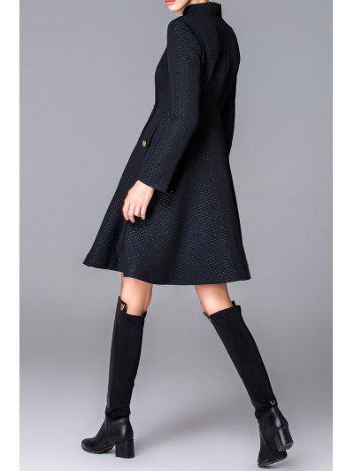 Button Fly Skirted Coat, Black