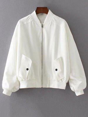 Honeybee Embroidered Bomber Jacket - White L