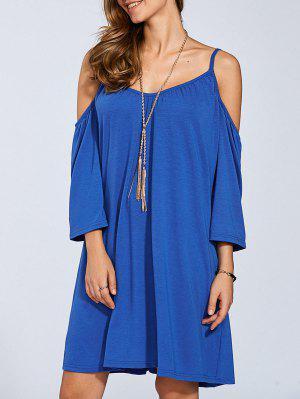 Long Sleeve Cold Shoulder Swing Dress - Medium Blue L
