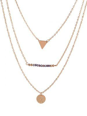 Coin Triangle Beads Layered Necklace - Golden