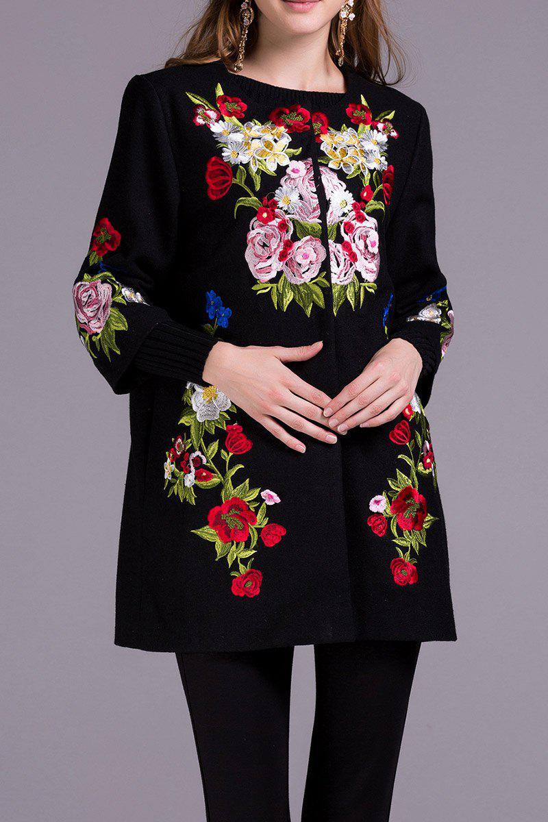 Embroidered Floral Coat, Black