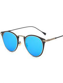 Metal Cat Eye Mirrored Sunglasses - Ice Blue