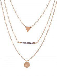 Círculo Del Collar De Los Granos Del Triángulo Mutilayered - Dorado